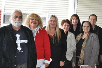 Members of the community with staff members Cynthia Scott and Carol Collie